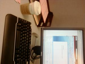 My coffee and my desk. Sideways.