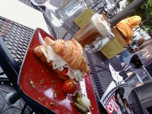 Croissant Sandwich & Spanish Coffee @ The Press Club on 26th Ave in Portland