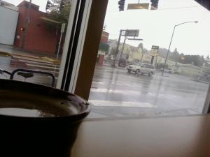 Cafe Au Lait at Southwest Grind on a rainy morning.