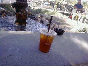 Berry tea by the lake.