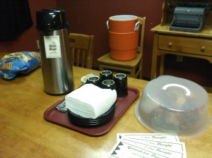 Coffee, water, pastries, and gift certificates for the band.