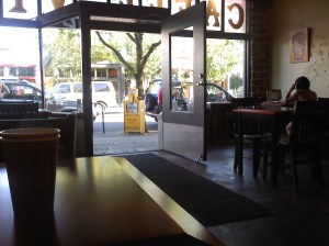 Entrance of Caffe Vita, from the inside.